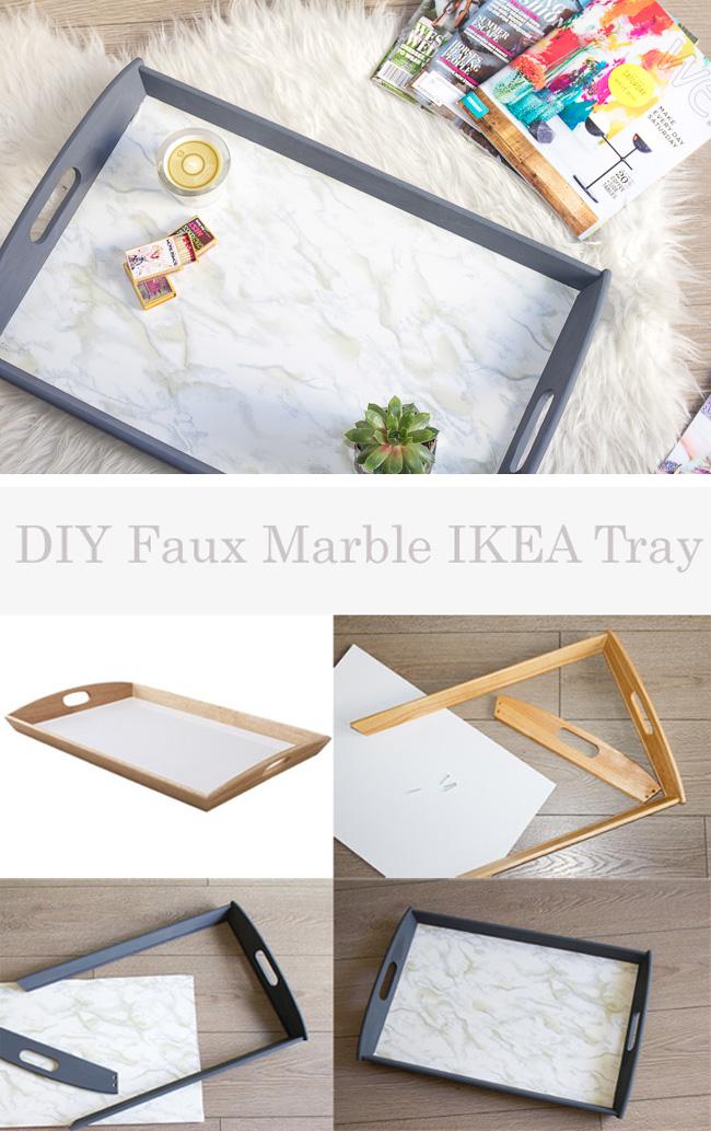 DIY Faux Marble IKEA Tray   Horses & Heels