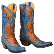 Lucchese Ocean Blue and Cognac Cowboy Boots