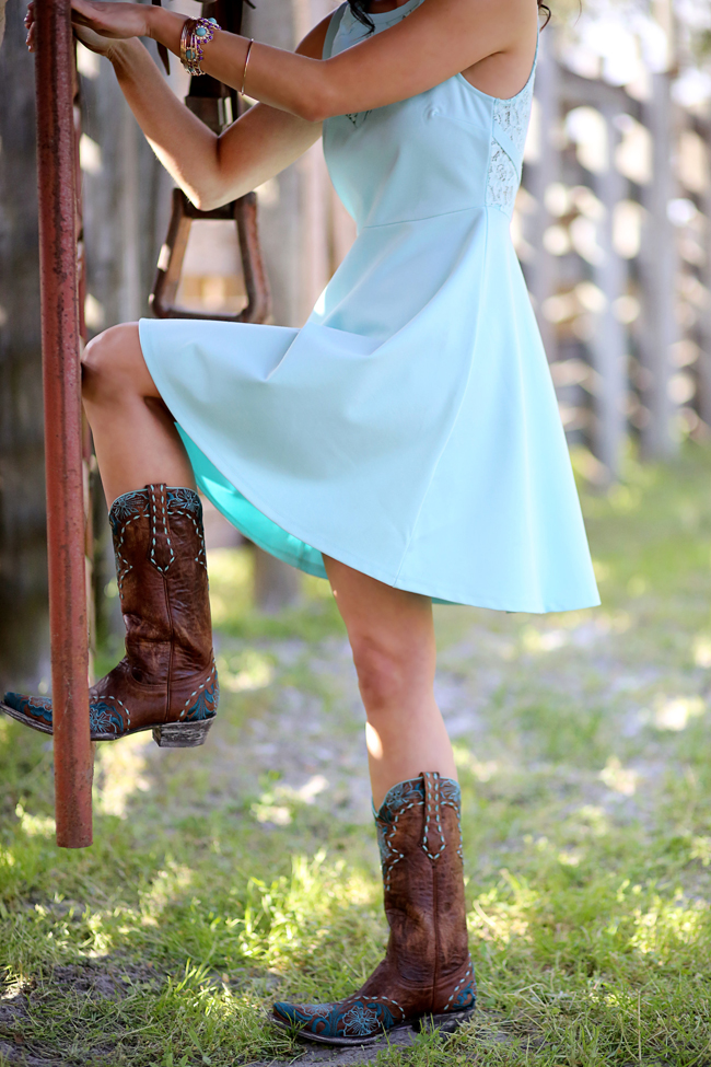Old Gringo Boots and Turquoise Dress