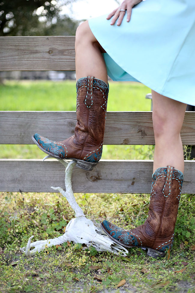 Old Gringo Brown and Turquoise Cowboy Boots