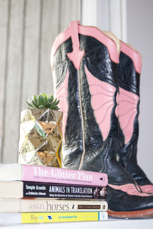 Succulents, books and Rios of Mercedes Cowboy Boots | Horses & Heels