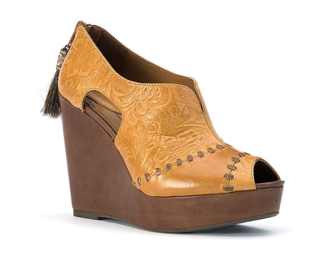 Y Knot Branded Leather Lace Wedge