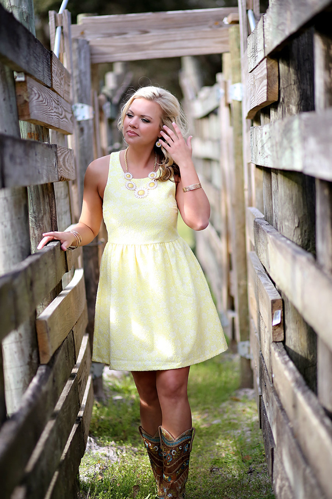 Yellow Sundress and Boots in a Cattle Shoot
