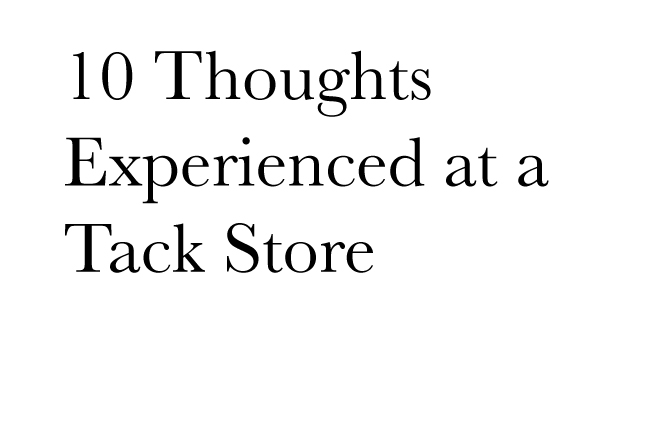 10 Thoughts Experienced at a Tack Store
