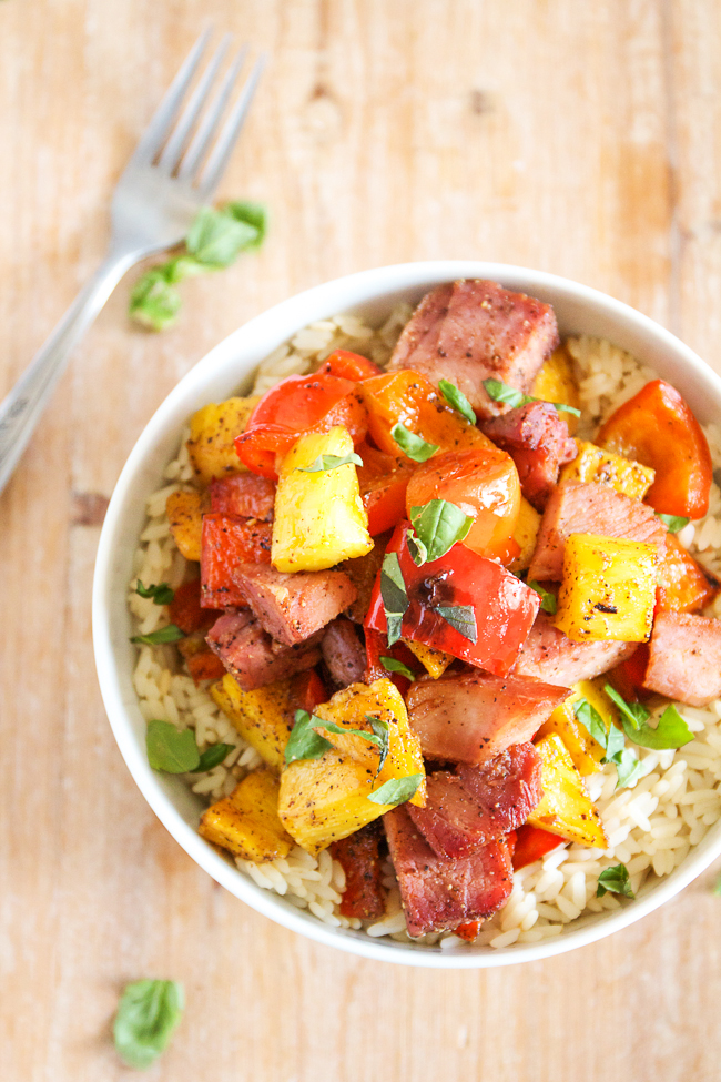 Hawiian Ham and Pineapple Bowl over Rice