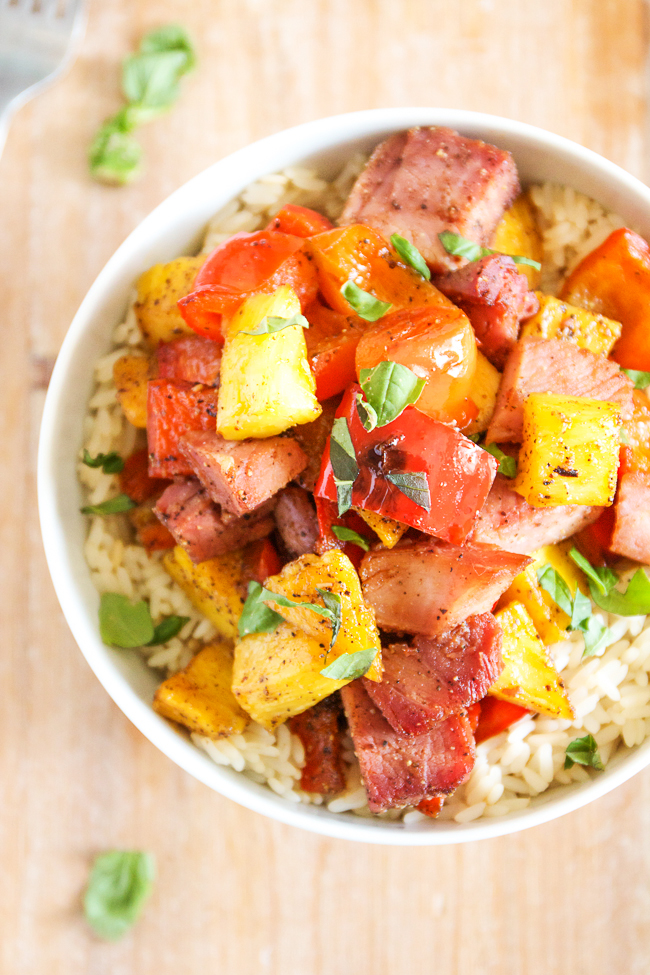 Hawiian Ham and Pineapple Bowl with Rice