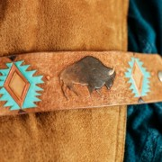 Leather Buffalo Cuff by Allie Falcon Communications