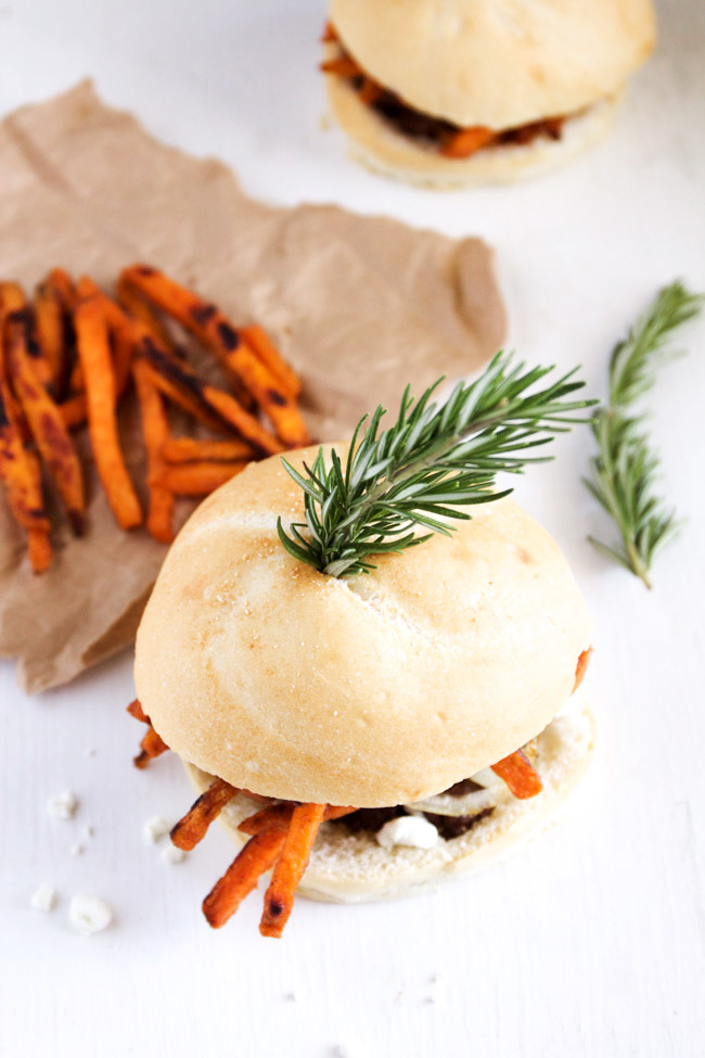 Loaded Chipotle and Rosemary Sweet Potato Burgers