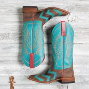 Macie Bean brown and turquoise chevron boots