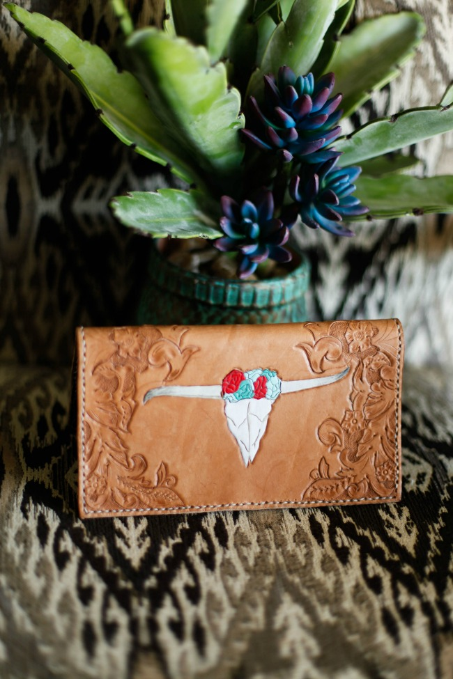 Trista Wallet Tooling and Painting by Allie Falcon Communications