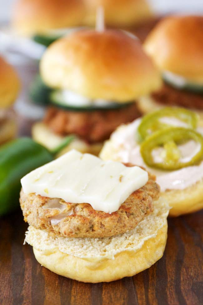 Albacore Tuna Sliders with Pepper Jack Cheese, Candied Jalapenos and Zesty Sour Cream