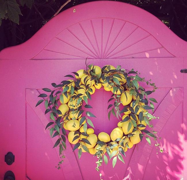 Lemon Tree Wreath and Pink Door