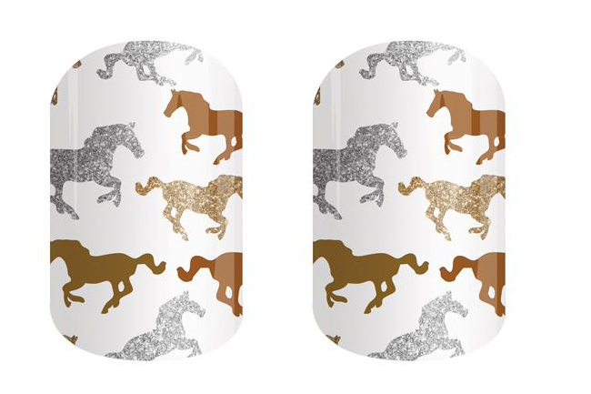 Silver and Gold Horse Print Nail Wraps