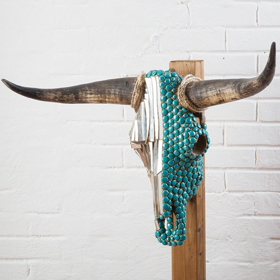 Southwest Turquoise and Metallic Cow Skull