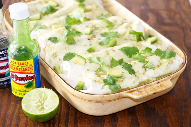 Spicy Verde Chicken Enchiladas