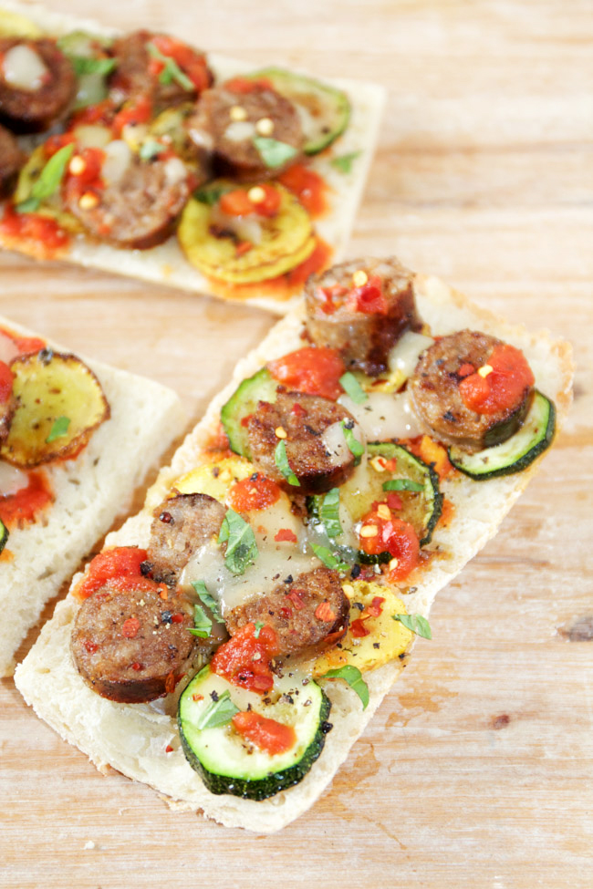 Spicy Sausage and Summer Squash Flatbread
