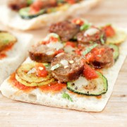 Spicy Sausage and Summer Squash on Flatbread