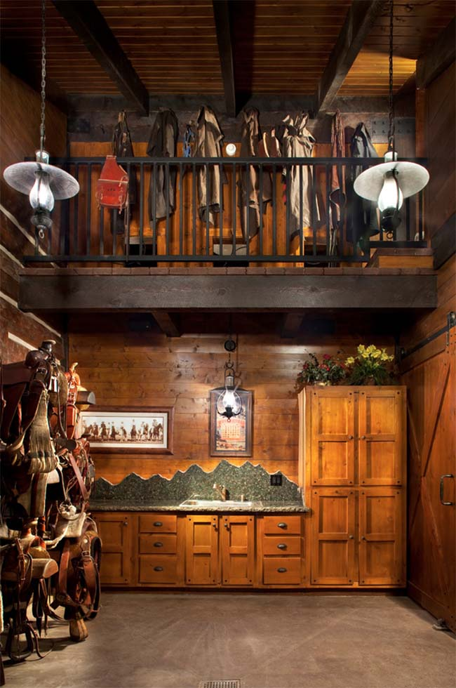 Stunning wooden two story tack room