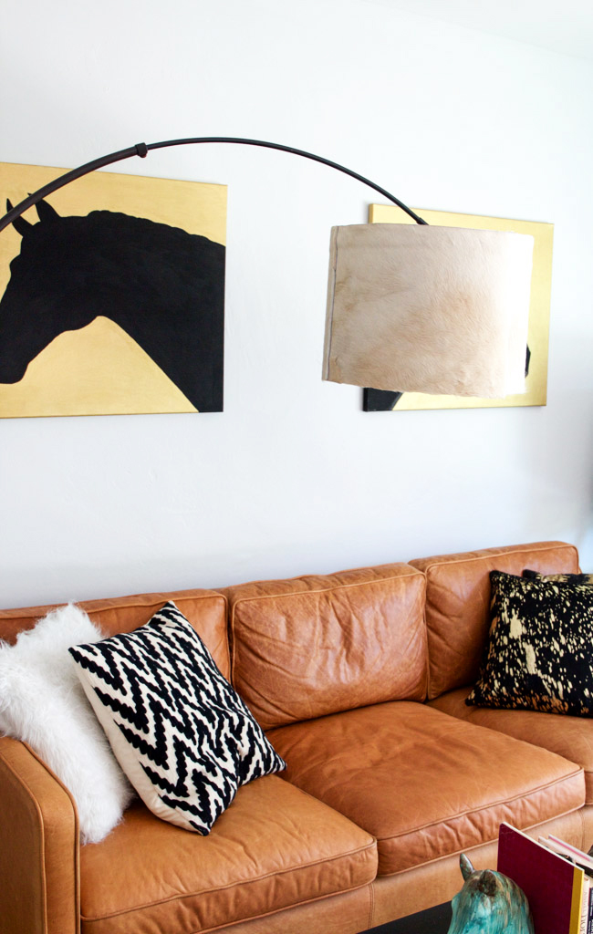 Arch floor lamp with a DIY cowhide lampshade