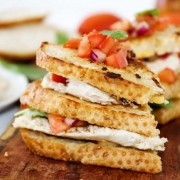 Grilled Bruschetta Chicken Sandwiches stuffed with chicken and cheese