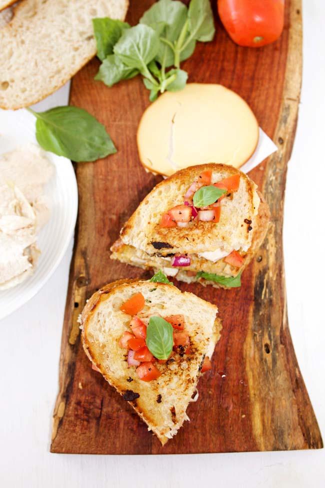 Grilled Bruschetta Chicken Sandwiches with Smoked Gouda Cheese