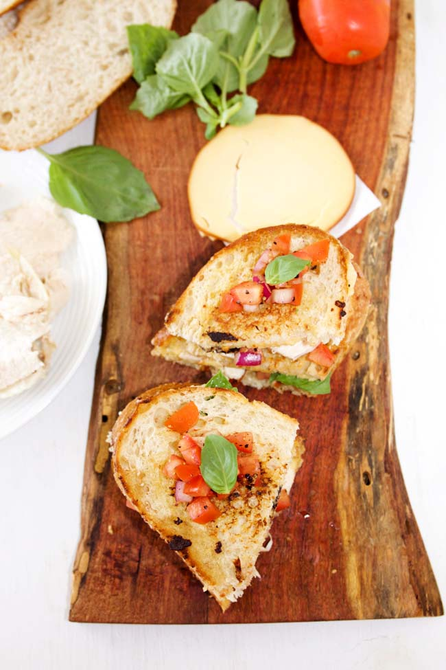 Grilled Bruschetta Chicken Sandwiches with Smoked Gouda Cheese