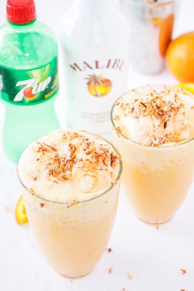 Malibu Sherbert Floats with Toasted Coconut and Orange Juice