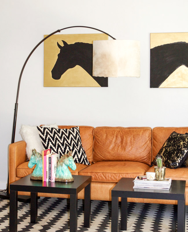 Modern equestrian living room with a DIY cowhide lampshade