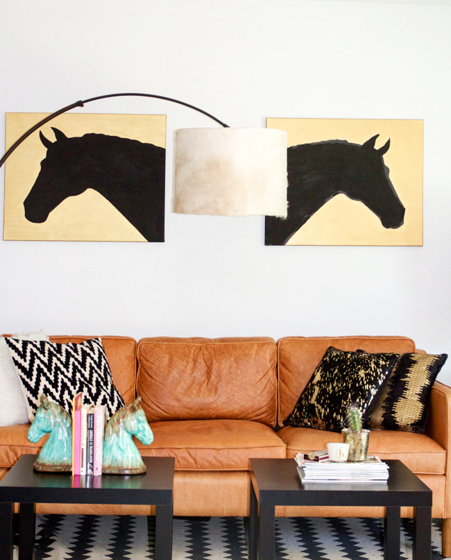 Modern equestrian living room with a DIY drum cowhide lampshade