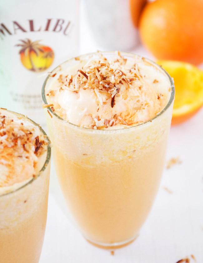 Tropical Malibu Sherbert Floats with Toasted Coconut and Orange Juice
