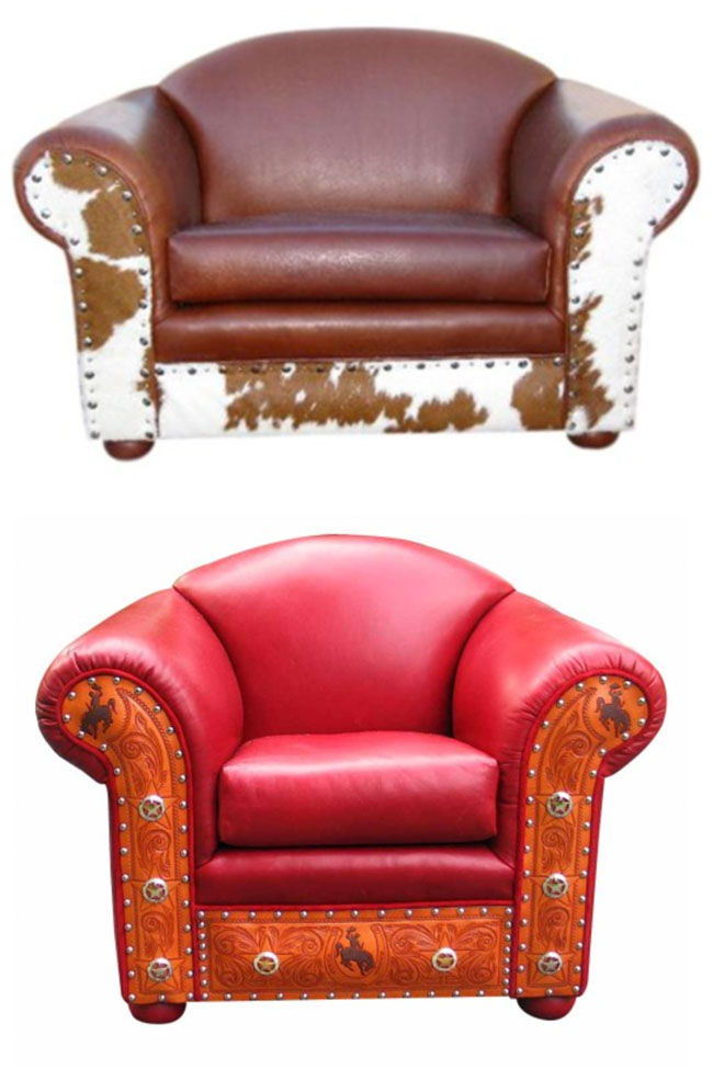 Western Leather Chairs from Rustic Artistry