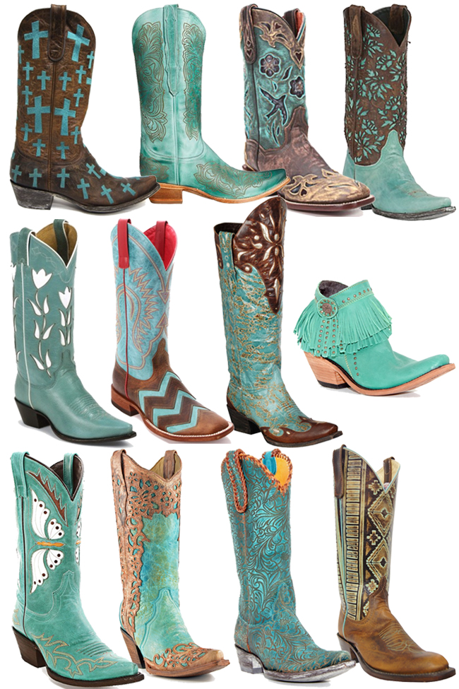 12 Pairs of Turquoise Cowboy Boots