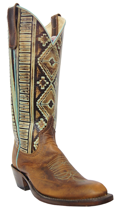 Anderson Bean Turquoise and Brown Boots