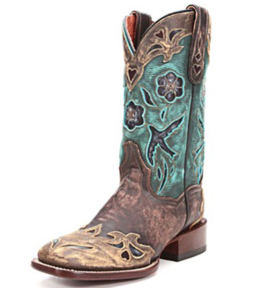 Dan Post turquoise and brown cowboy boots