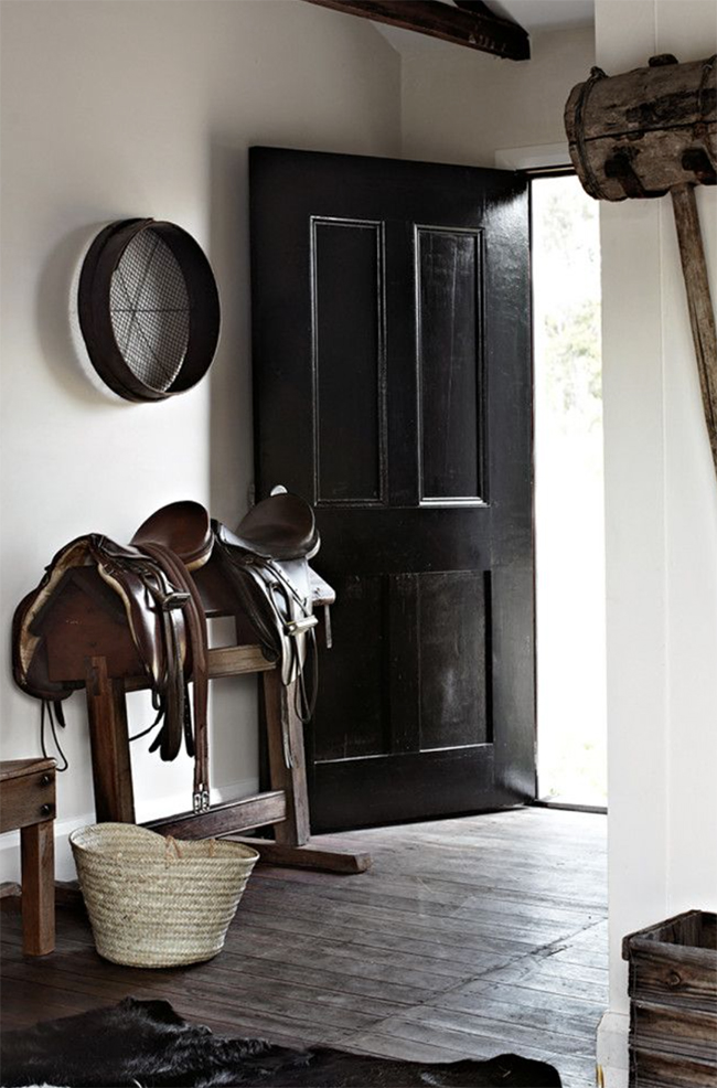 English saddles in the entryway
