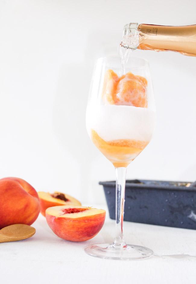 Fresh Peach Sorbet and Sparkling Peach Moscato