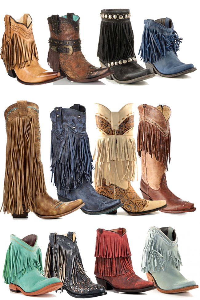 12 Pairs of Fringe Cowboy Boots for Fall