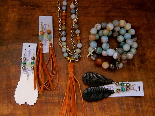 Fringe and bone jewelry pieces