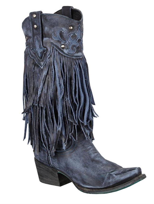 Lane Boots Santa Rosa Blue Fringe