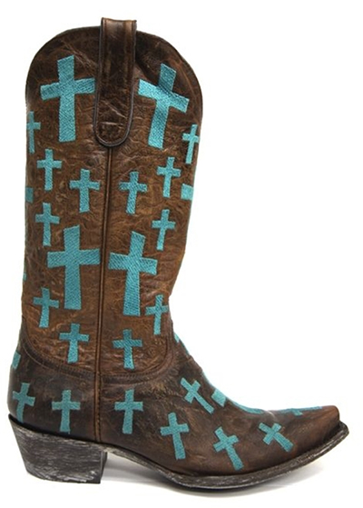 Old Gringo Turquoise Cross Boots from South Texas Tack
