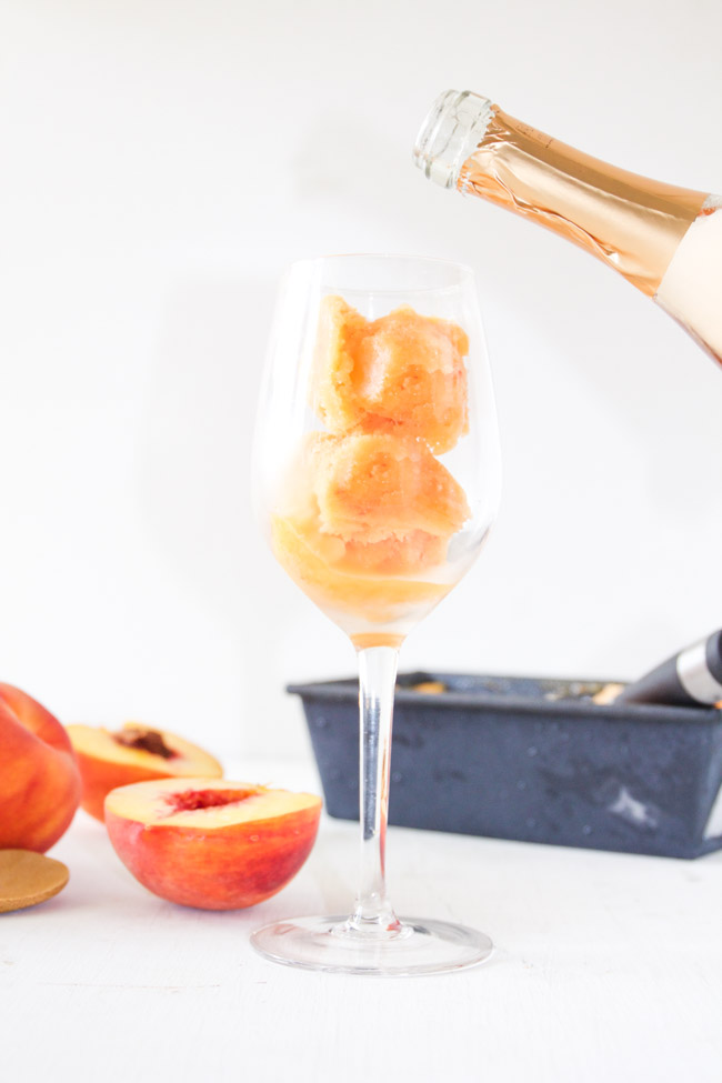 Peach Sorbet and Sweet Peach Moscato Floats