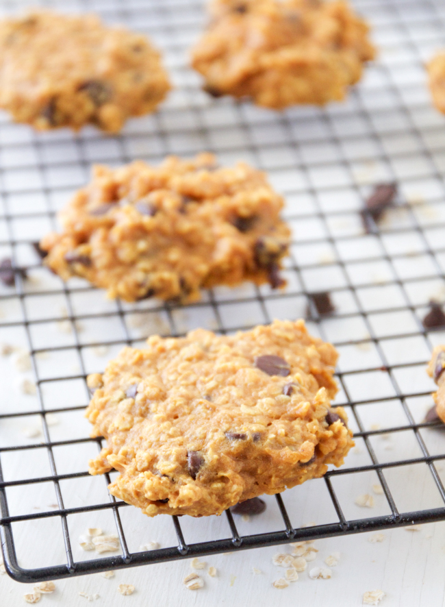 Soft and chewy Pumpkin Oatmeal Chocolate Chip Cookies with just a hint of cinnamon