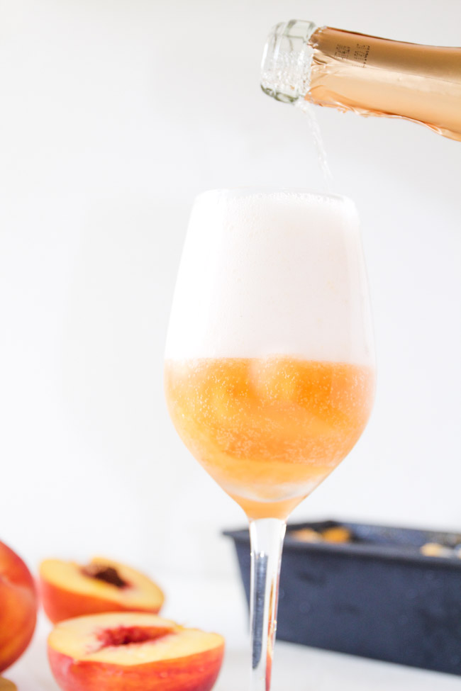 Sparkling Peach Moscato and Peach Sorbet Float