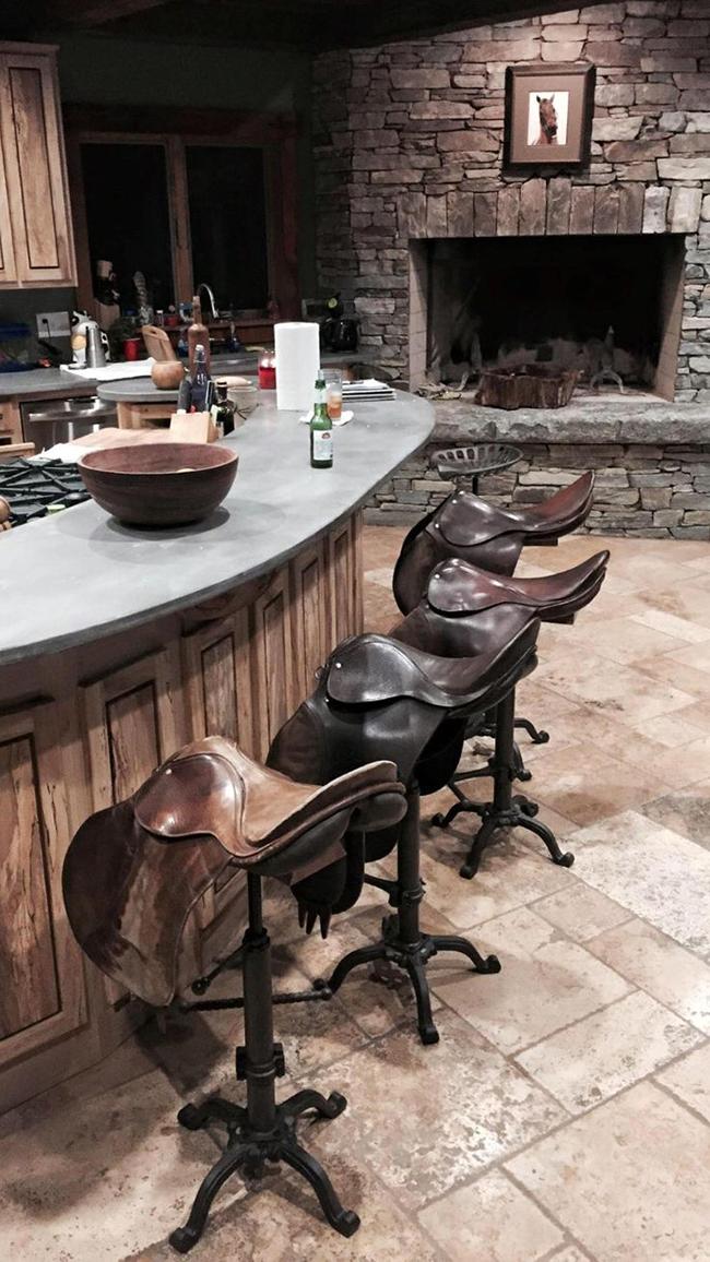 Vintage english saddle bar stools