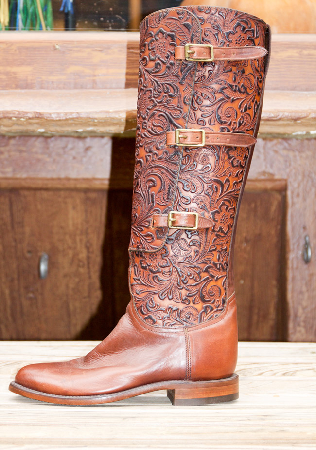 Beautiful brown leather and carved Lucchese boots