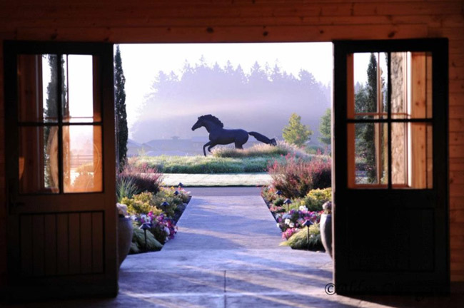 A view of the horse statue from inside the barn