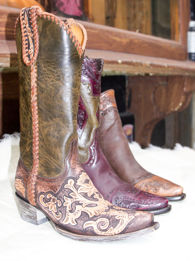 Dark brown and burgundy cowboy boots