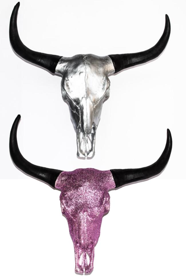 Gem Skulls Silver and Pink Steer Head