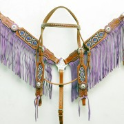 Purple Beaded Fringe Headstall Set