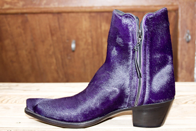 Purple hair on hide fall cowboy boot